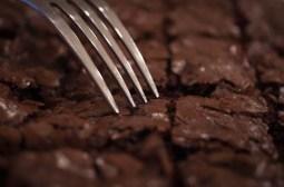 Home-baked dark chocolate brownies