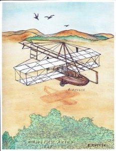 Painting of Jacob Brodbeck's 1865 flight (photo: Cibolo Nature Center)