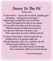 Down-To-The-Pit, despair, longing, where is god, crippling pain, silence, knowing god, sonnet, poem