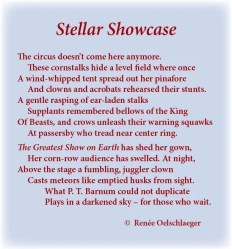 Stellar-Showcase, circus, p.t. barnum, stars, corn fields, greatest show on earth, clowns, acrobats, sonnet, poem