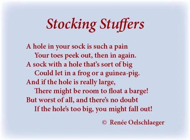 Stocking-Stuffers, hole in a sock, socks, barge, toes, guinea pig, light verse, poetry, poem
