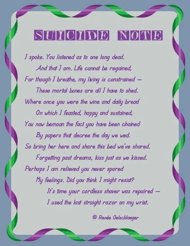 Suicide-Note, suicide, marriage, other woman, desperation, sonnet, poetry, poem