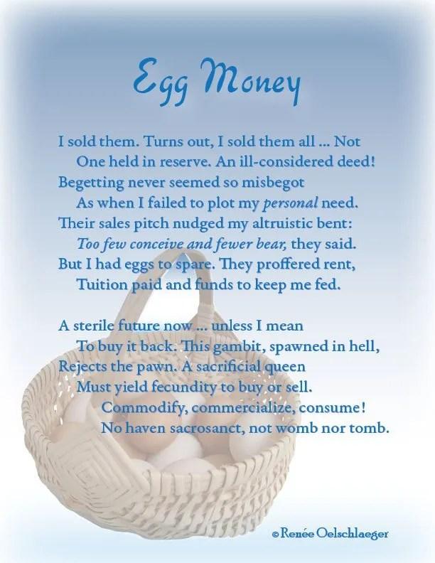 brave new world, eggsploitation, egg harvesting, selling eggs, reproductive choice, sonnet, poetry, poem