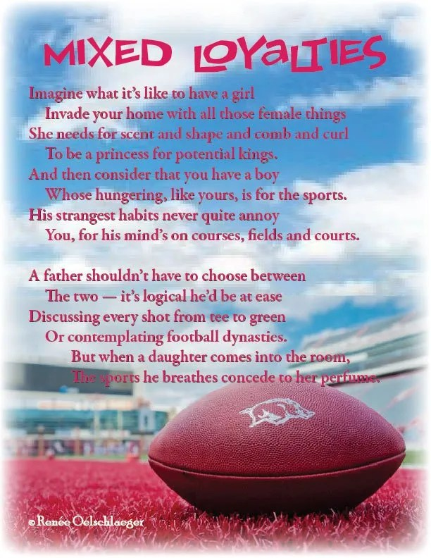 Mixed-Loyalties, fathers, daughters, sons, sports, football, sonnet, poetry, poem