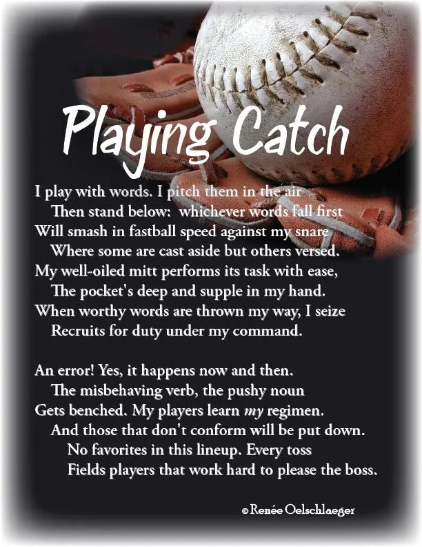 baseball, writing, playing catch, sonnet, poetry, poem