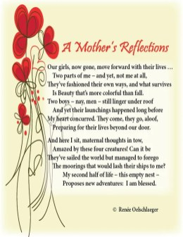 A-Mothers-Reflections, mother, daughter, empty-nest, beauty, son, sonnet, poem