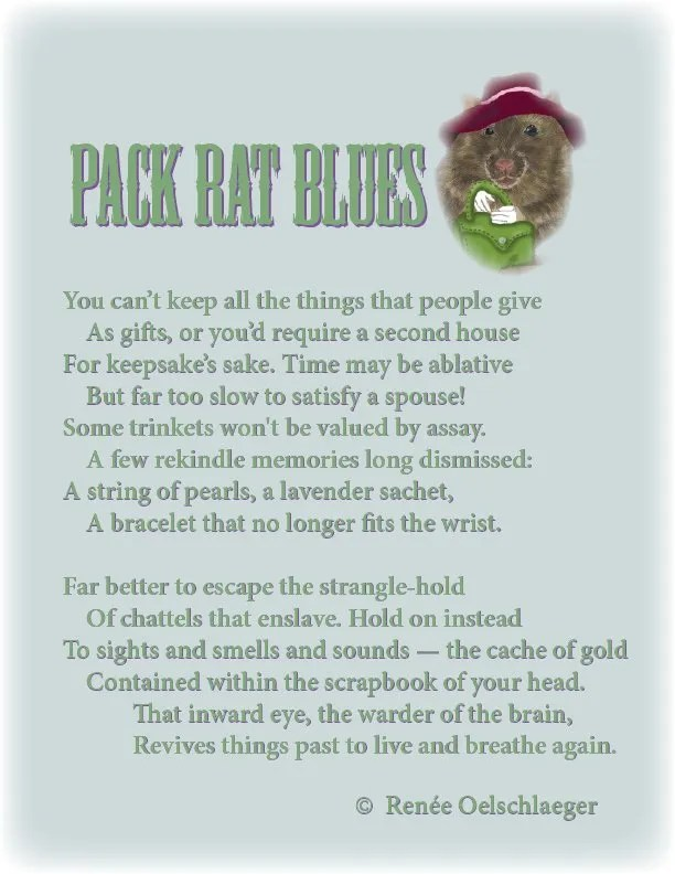 Pack-Rat-Blues, pack rat, keepsakes, trinkets, remembering, sonnet, poetry, poem