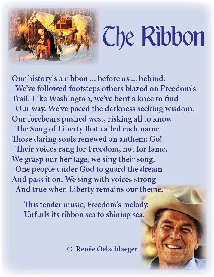 The-Ribbon, Ronald Reagan, Washington, freedom, liberty, our heritage, sonnet, poetry, poem