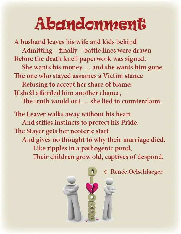 Abandonment, divorce, dissolution of marriage, sonnet, poetry, poem