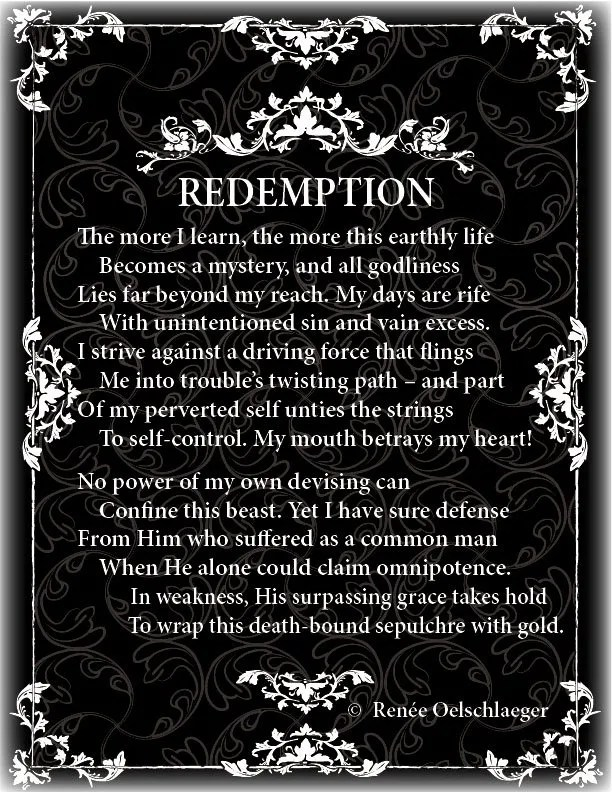 Redemption, sin, need for redemption, self-control, weakness, sonnet, poetry, poem