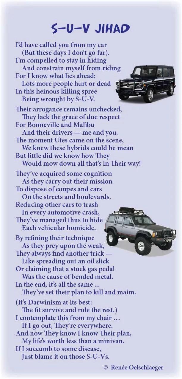 SUV-Jihad, hysteria, cars, sport utility vehicles, light verse, poetry, poem