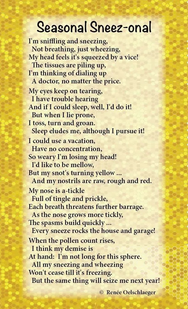Seasonal-Sneezonal, sniffling, sneezing, wheezing, allergies, pollen count, light verse, poetry, poem