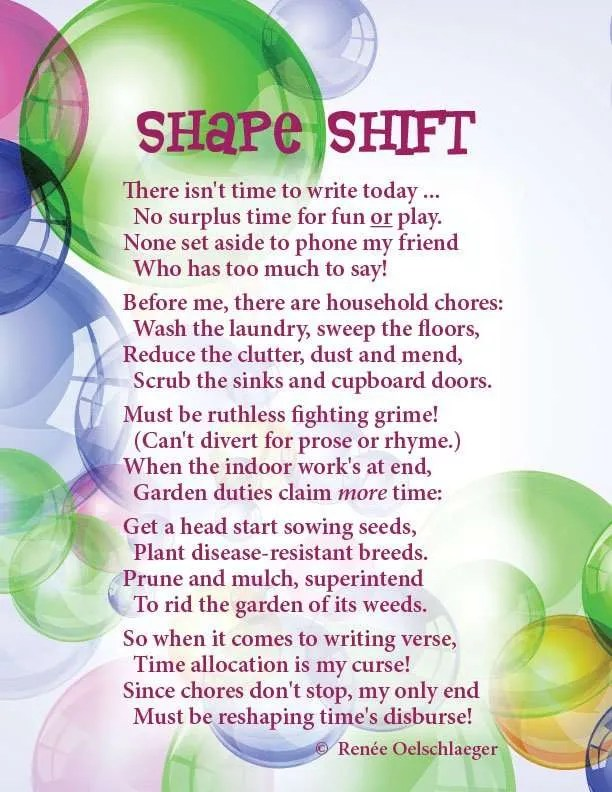 Shape-Shift, playing with words, writing, poetry, light verse, poem