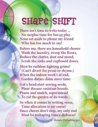 Shape-Shift, writing, versifying, time to write, household chores, choices, poetry, light verse, poem