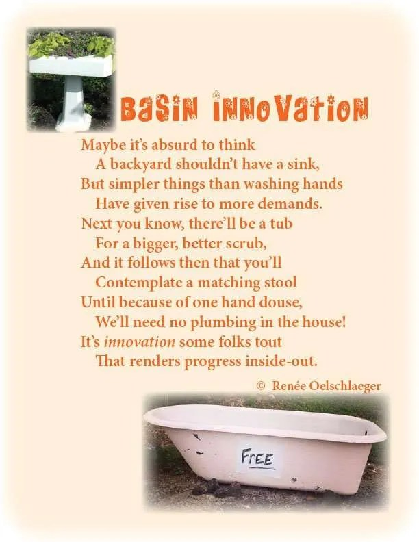 Basin-Innovation, plumbing fixtures, tub, sink, back yard, light verse, poetry, poem