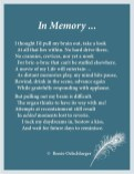 In-Memory, memory, remembrance, movie of my life, reverie, sonnet, poetry, poem, light verse