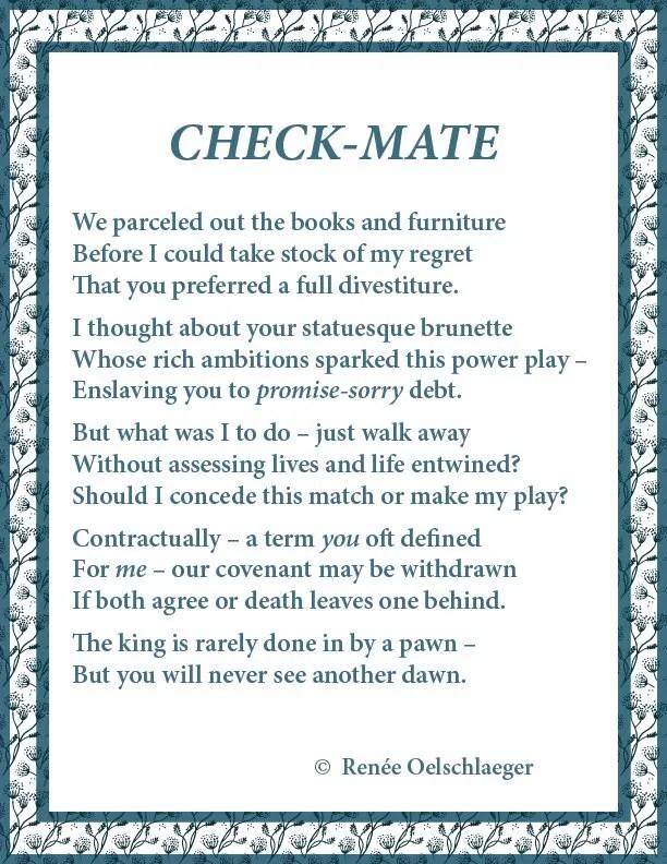 chess, divorce, regrets, terza rima, poetry, poem
