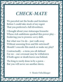 Check-Mate, chess, divorce, regrets, terza rima, poetry, poem