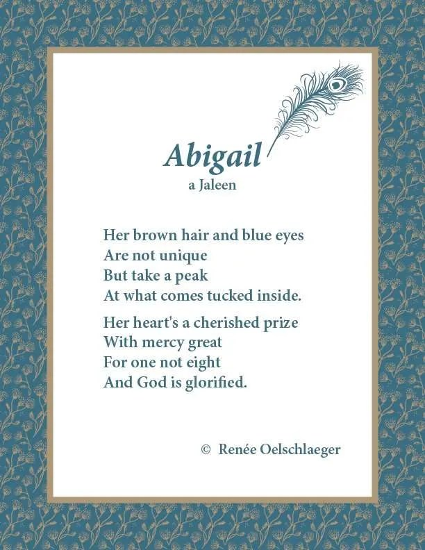 Abigail, Jaleen, poetry, poem