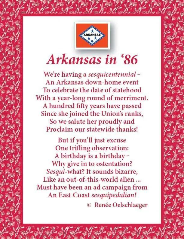 Arkansas In '86, poem, sesquicentennial, verse, poetry