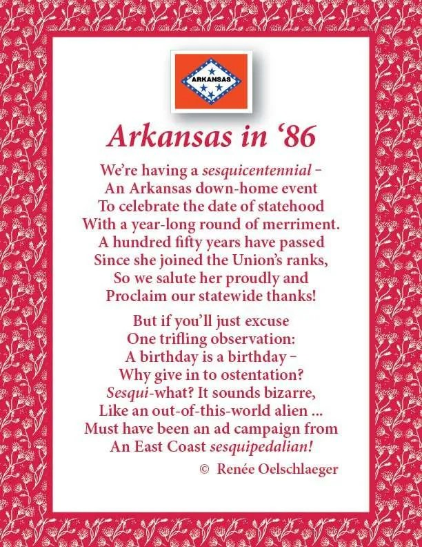 Arkansas In '86, poem, sesquicentennial, verse, poetry