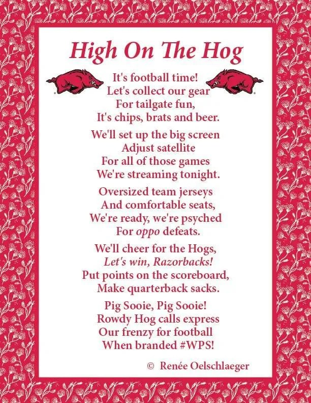 High On The Hog, poetry, verse, Razorbacks, Arkansas, football
