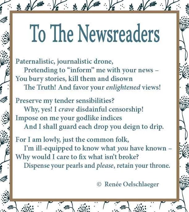 To The Newsreaders, news, poetry, poem