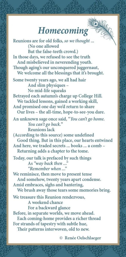 Homecoming, Reunion, John Brown University, poetry, poem, verse, reminiscence