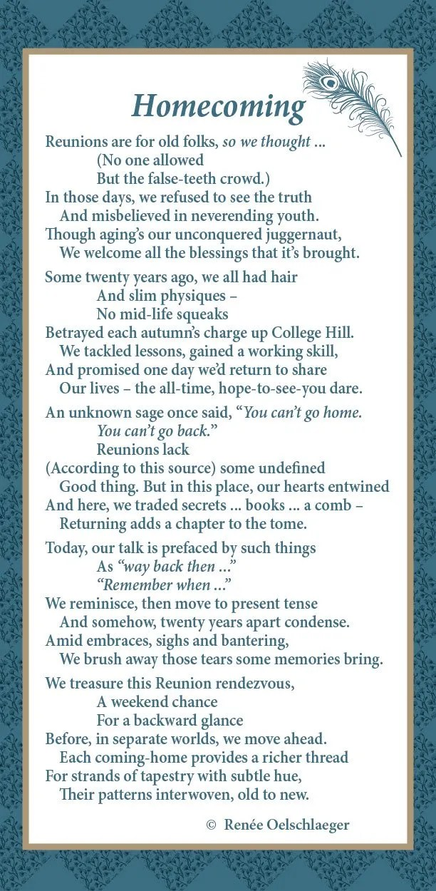Homecoming, Reunion, John Brown University, poetry, poem, verse, reminiscence