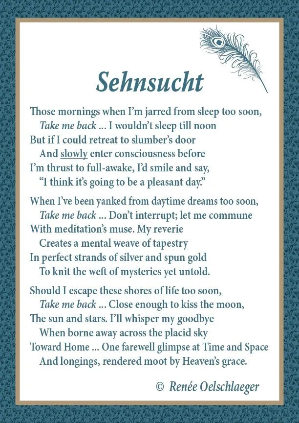 Sehnsucht, poem, poetry, verse, dreams, sleep, death