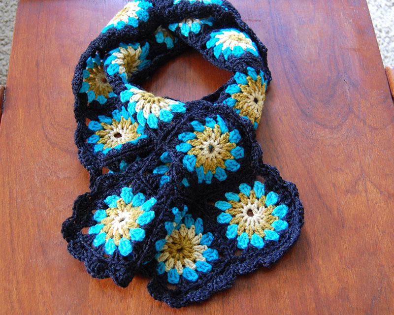 Crocheted Granny Square Scarf Wise Craft Handmade