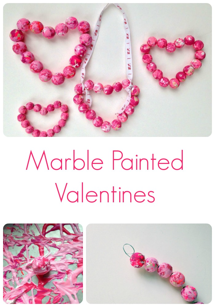 Marble painted wooden bead Valentines