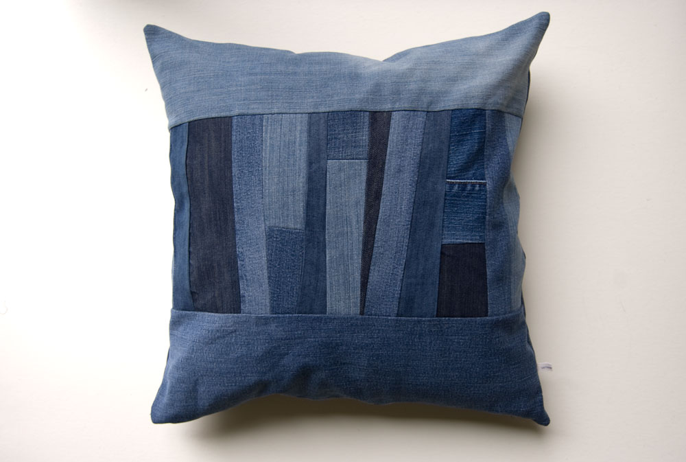 Denim Strips Pillow by Wise Craft Handmade