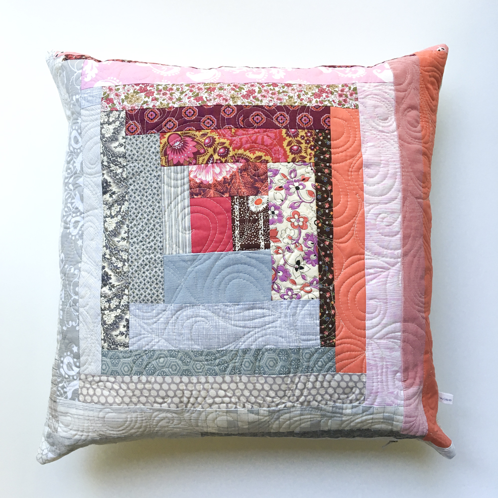 Pink Log Cabin Patchwork Pillow