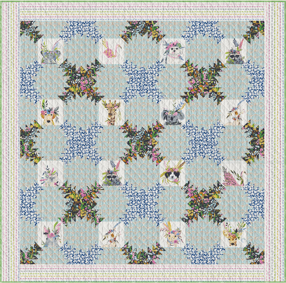 Floraison Quilt featuring Indigo and Aster by Bari J.