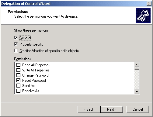 Delegation Of Control Wizard - Permissions Step