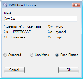 Password Generation Options - Pass Phrase