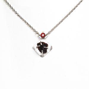 Handmade garnet pendant set in sterling silver with faceted garnet and crystalline garnet