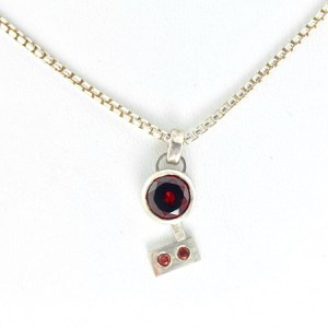 Garnet and sterling silver necklace front view