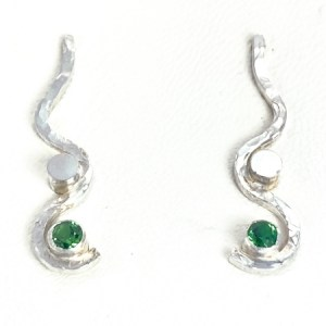 Tsavorite garnet swirl earrings