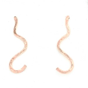 Rose gold swirl earrings front view