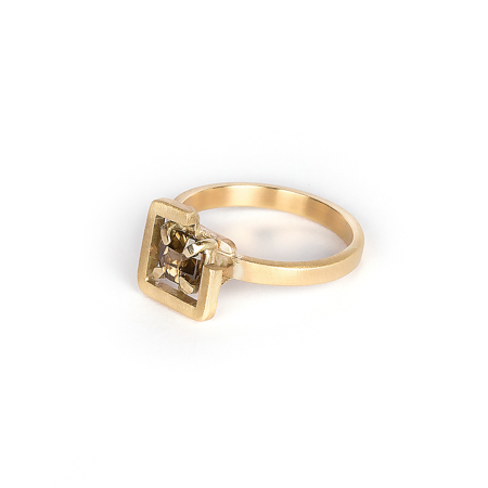 Earth ring brown zircon diagonal set in brushed yellow gold side view 2