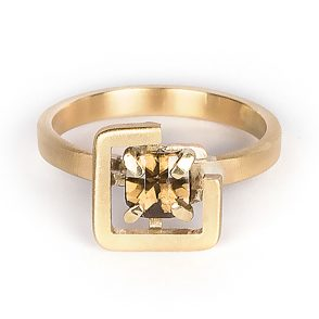 Earth ring brown zircon diagonal set in brushed yellow gold