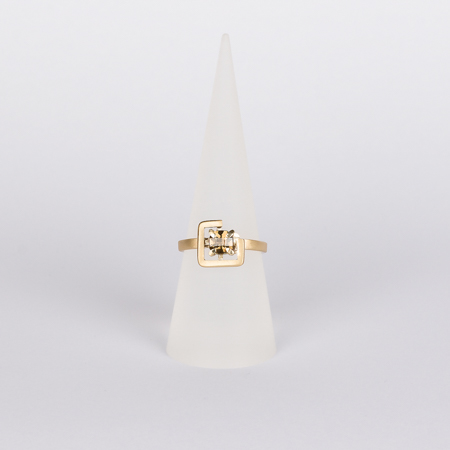 Earth ring brown zircon diagonal set in brushed yellow gold cone