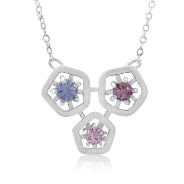 Hope triple pendant - blue, light pink and dark pink
