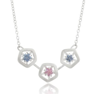 Hope triple pendant - blue, pink and lilac