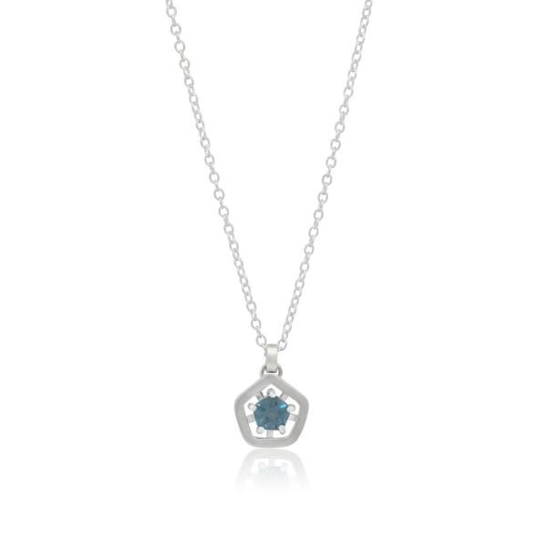 Hope simple pendant - deep blue with chain