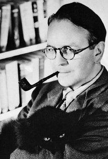 Portrait of Raymond Chandler with his black cat