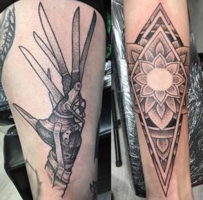 edward scissorhands dotwork mandala tattoo