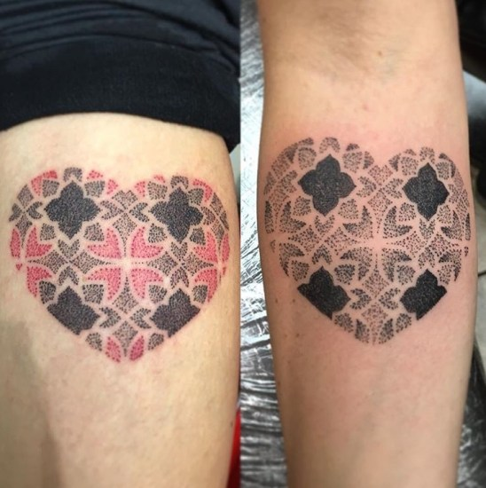 Geometric Dotwork Hearts